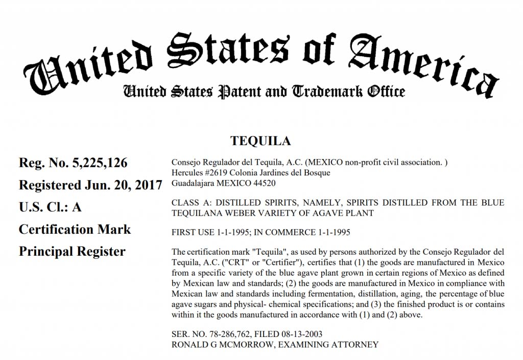 US certification for Tequila (2017)